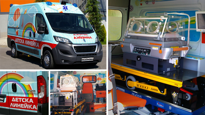 """Детската линейка, дарена от Сружение """"Кауза"""" транспортира първи пациент."""